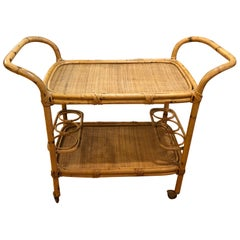 Rattan Bar Cart on Casters