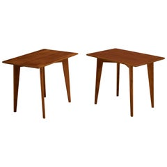 Mid Century Pair of Teak End Tables by DUX
