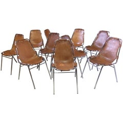10 X Les Arcs Chairs Charlotte Perriand Dining Chairs Leather Set of Ten, 1960s