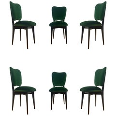 Italian Dining Chairs in the Style of Ico Parisi Set of Six Midcentury