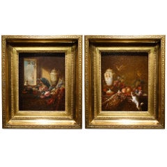 Pair of Still Life Painting, 19th Century French School, Oil on Oak