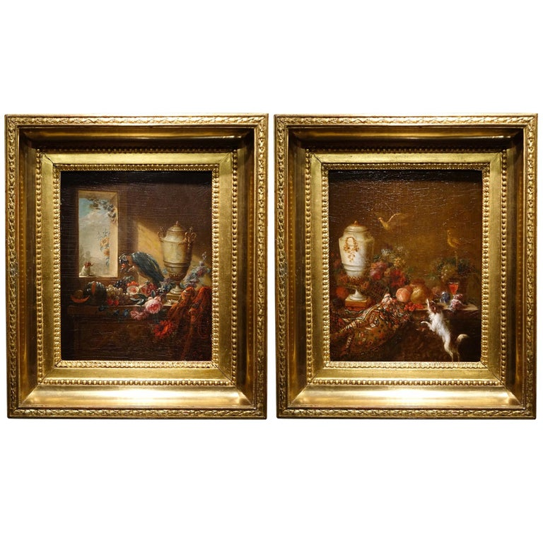 Pair of Still Life Painting, 19th Century French School, Oil on Oak For Sale