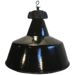 Two Black Enamel Pendant Lamp Cast Iron Top,Bauhaus, 1930s