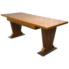 Magnificent Italian Desk Table Osvaldo Borsani Walnut Leather, Midcentury, 1940s