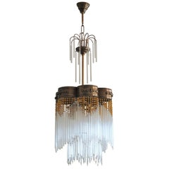 Mid-Century Glass and Faceted Crystal Rod Chandelier