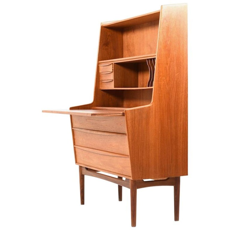 Midcentury Conical Danish Teak Wooden Secretary