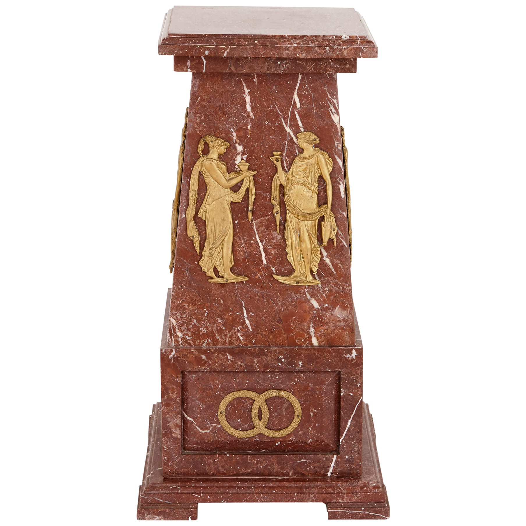 French Ormolu-Mounted Red Marble Pedestal Column