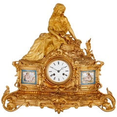 Napoleon III Period Gilt Bronze and Sèvres Style Porcelain Mantel Clock