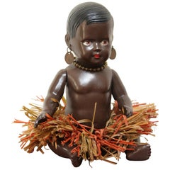 1930s Afro, American Celluloid Doll, Cellba Germany, DRP Germany 18 1/2