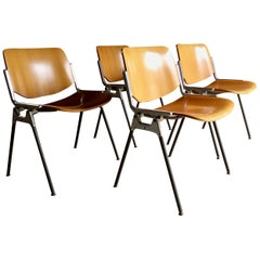 Set of Four Giancarlo Piretti DSC Axis 106 Chairs Castelli, circa 1960s, Italian