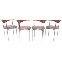 Set of Four Fritz Hansen Danish Teak and Chrome Armchairs, circa 1960s