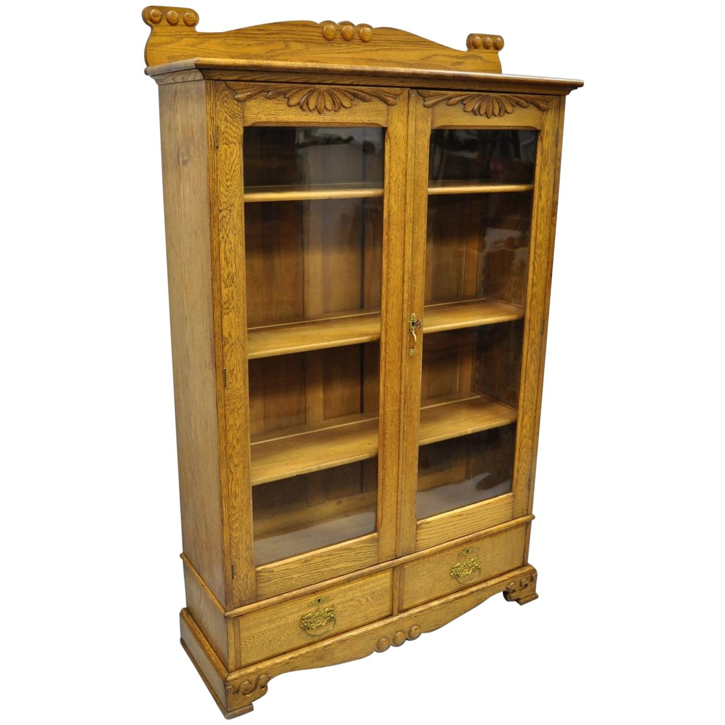 Golden Oak Victorian Glass Two Door Bookcase China Cabinet Curio Two Drawers