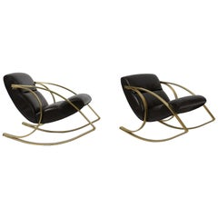 1970s Brass and Black Leather Rocker Chairs Milo Baughman Style