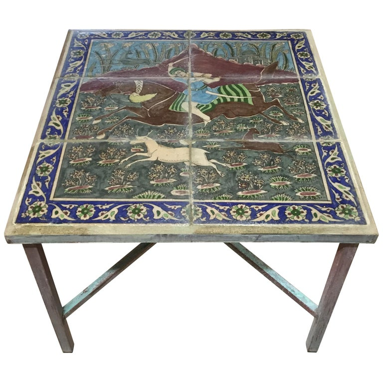 One of a Kind Antique Persian Tile Top Coffee Table