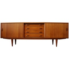 Vintage Danish Design Credenza / Sideboard by Clausen & Son 1950s Teak Brown