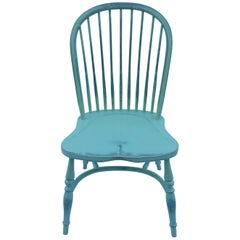 Reproduction Spindle Back Light Green Side Chair with Blue Underneath