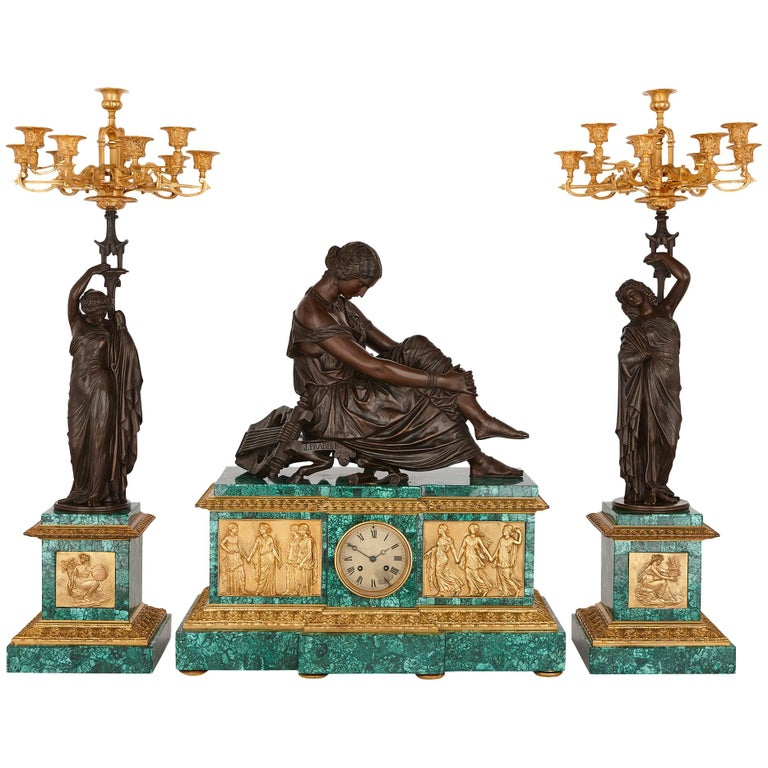Neoclassical Style Patinated Bronze, Ormolu and Malachite Clock Set For Sale