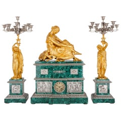 Neoclassical Style Malachite, Silvered and Gilt Bronze Clock Set