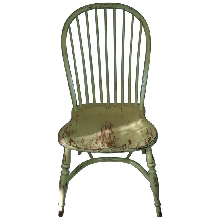 Reproduction Spindle Back Yellow Side Chair
