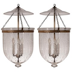 Pair of Large 19th Century Bell Jar Lanterns with Wheat Etching