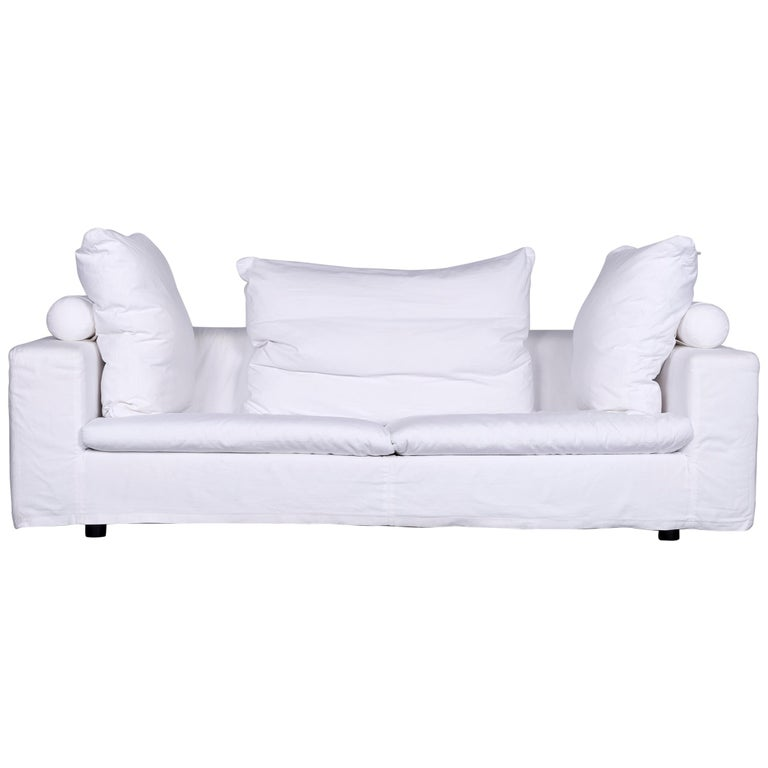 Flexform Poggiolungo Designer Fabric Sofa White Couch