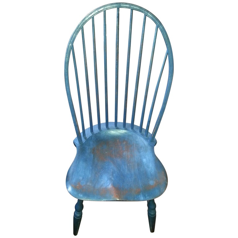 Reproduction Spindle Back Blue Side Chair