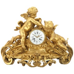 Barbedienne Gilt Bronze Mantel Clock