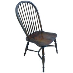Reproduction Spindle Back Oak Stained Side Chair