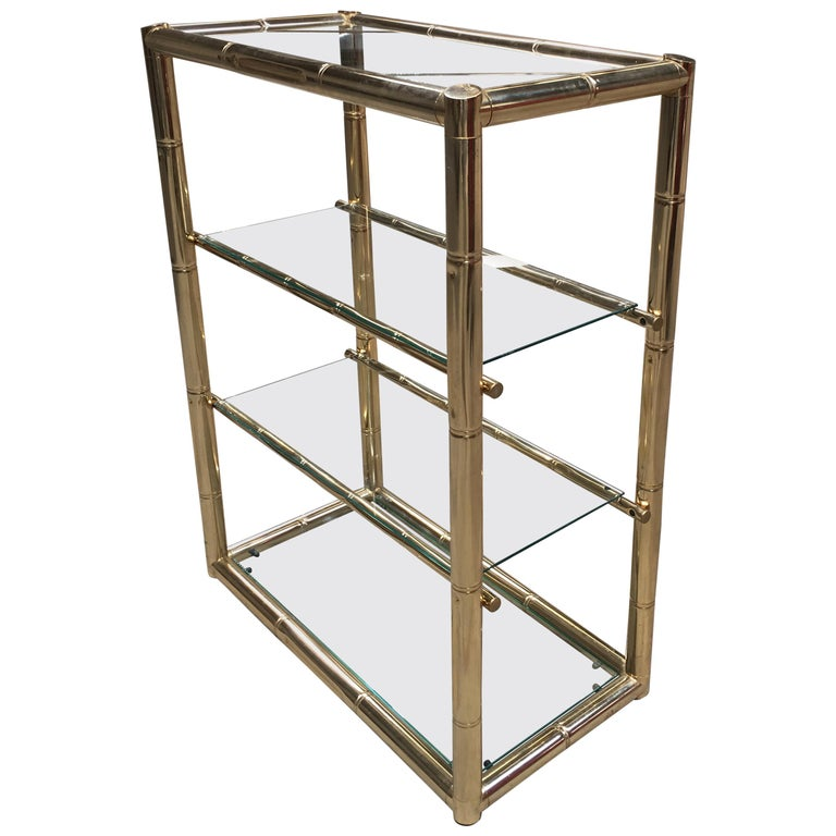 Mid-Century Modern Four-Tier Italian Faux Bamboo Gilt Metal and Glass Etagere