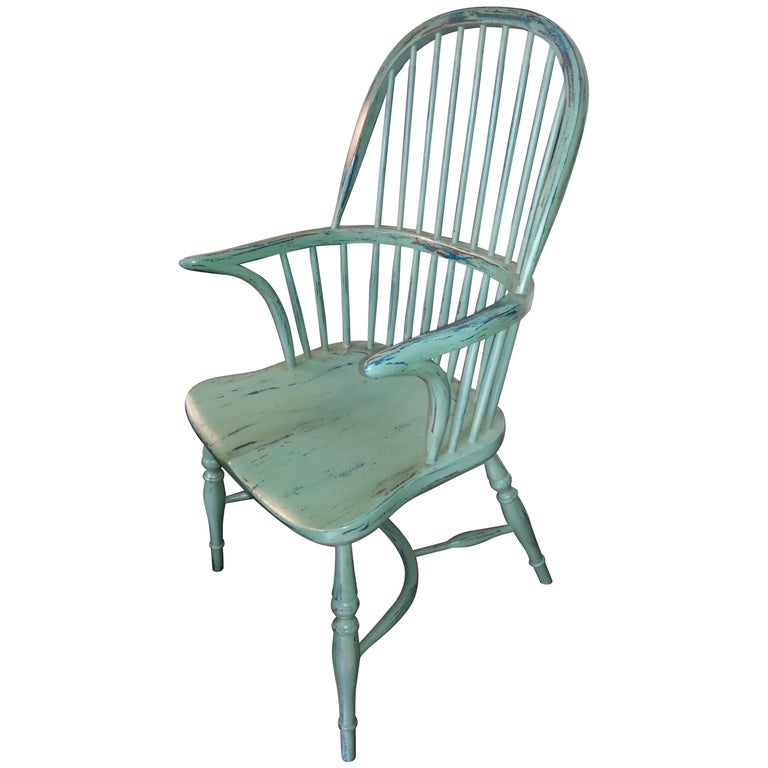 Reproduction Spindle Back Light Green with Blue Underneath Armchair