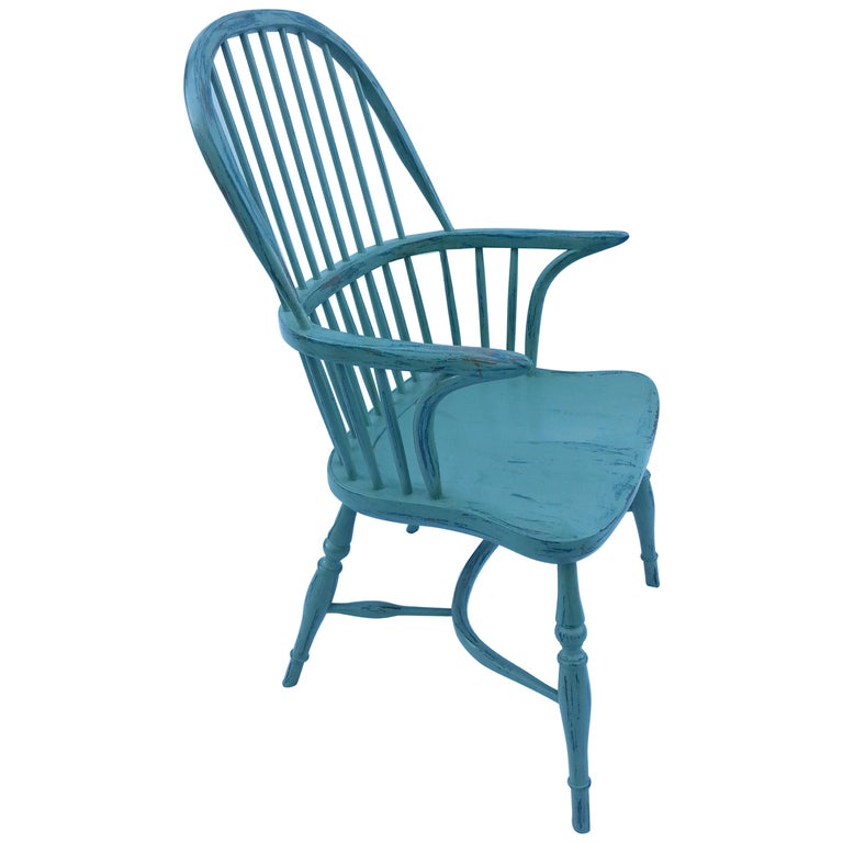 Reproduction Spindle Back Powder Blue Armchair
