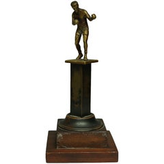 Early 20th Century Brass and Wood Boxing Trophy, circa 1940s