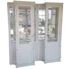 Pair of Illuminated Old-White Display Cabinets or Vitrines