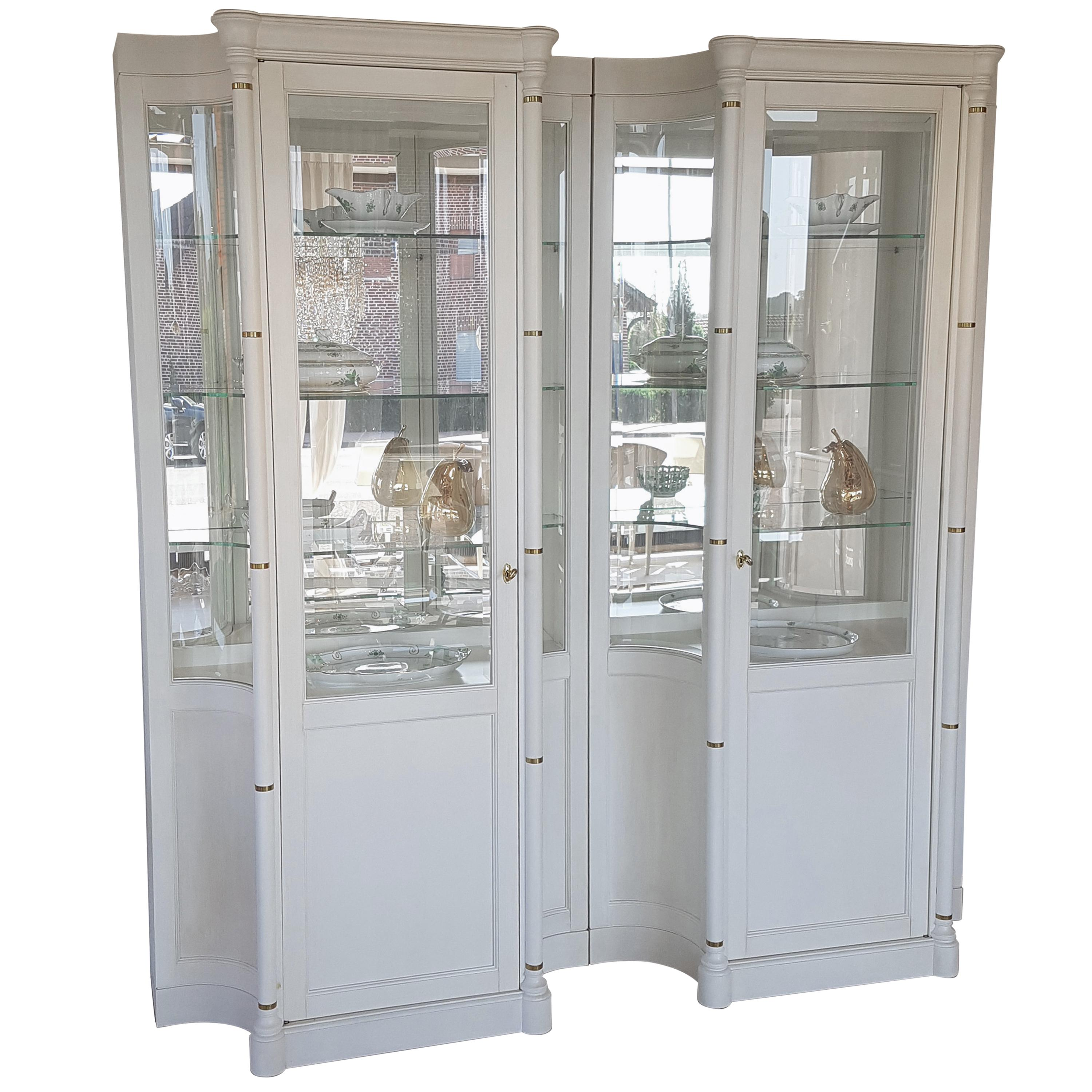 Pair Of Illuminated Old White Display Cabinets Or Vitrines For Sale