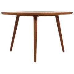 1960s Danish Modern Round Tripod Teak Coffee Table Mid-Century Modern Design