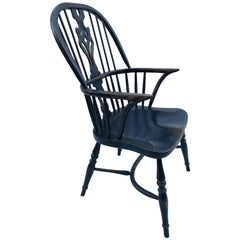 Reproduction Spatback Black Crackle Chairs with Arms
