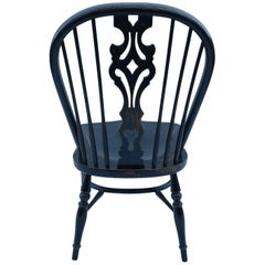 Reproduction Splatback Armless Black Crackle Chair