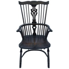 Reproduction Georgian Windsor Spatback Armchair with Dark Stain
