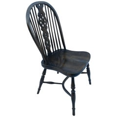 Reproduction Wheel Back Dark Stain Armless Chair