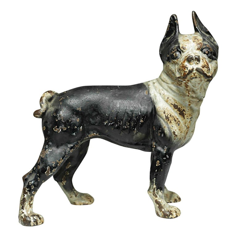Early 20th Century Cast Iron Boston Terrier Doorstop by Hubley, circa 1930s - Hubley Cast Iron Boston Terrier Bank Or Doorstop, Circa 1930-1940 At