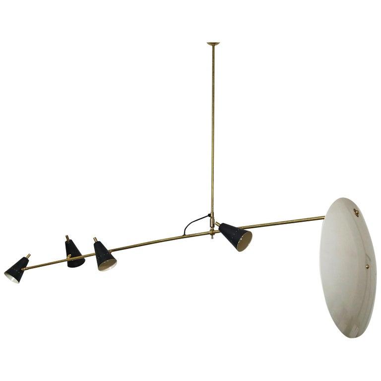 Long & Adjustable Italian Modern Ceiling Lamp, Stilnovo Style Chandelier Pendant
