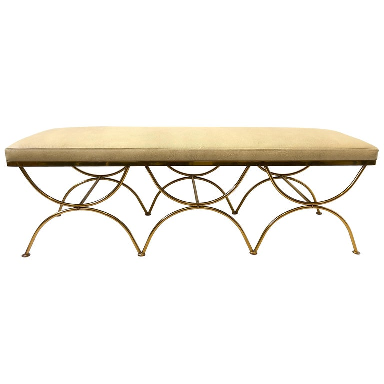 Leather and Brass Bench