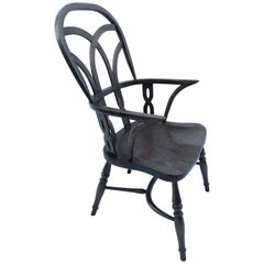 Reproduction Gothic Interlace Dark Stained Chair with Arms