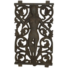 18th Century Indian Iron Temple Window Gate Plaque with Fretwork and Woman