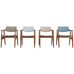 Colorful Set of Four 1960s Rare Svend Aage Eriksen Teak Armchairs, Danish Modern