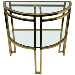 Polish Brass and Glass Demilune Two-Tier Console Table by Milo Baughman