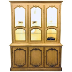 "Custom Quality ""Baker"" Cream and Gilt Distressed China Cabinet Oak Lined"