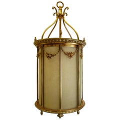 Large Gilt Bronze and Leaded Glass Neoclassical Style Lantern