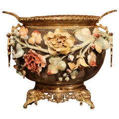 19th Century French Hand-Painted Barbotine Flower Cache Pot with Bronze Mounts