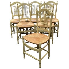 Midcentury Six Italian Chairs in Lacquered Wood and Straw Seat from 1950s